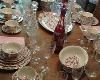 Set this beautiful table at home-Table, 6 chairs, all the stemware you could ever need, Check out that Bohemian piece!