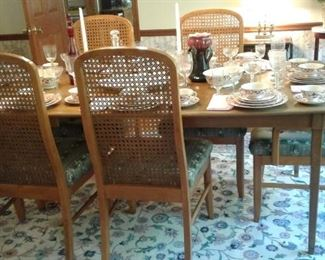 Table, 6 chairs, lcane back eaves,