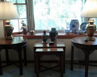 2 Asian looking round endtables, 2 Asian looking nesting tables, Cloisonne vase, Blue and white ware, Asian .  These are fabulous lamps