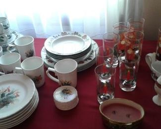 Assorted Christmas china and glassware