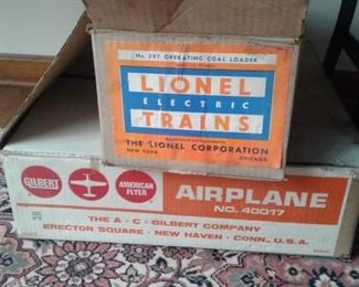 Gas powered plane and Lionel accessories and boxes!