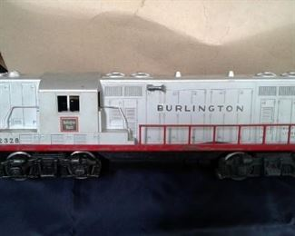 LIONEL VINTAGE METAL BURLINGTON 2328 LOCOMOTIVE