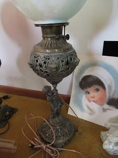 One of the lamps in the sale.  The girl in the photo is a water color.