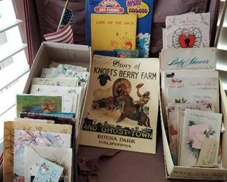 Collection of old greetings cards and 1949 Knotts Berry Farm program