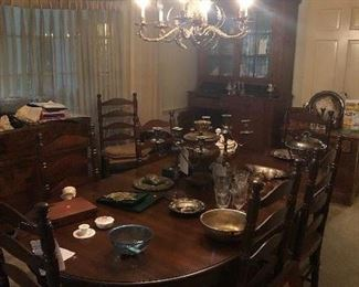 Queen Anne table with 2 leaves and 8 ladderback chairs