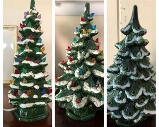 Several vintage ceramic Christmas trees