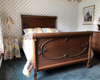 Oak Full Size Bed (rails, headboard and footboard)