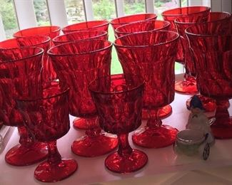 Cranberry red stemware glasses set...more than shown here