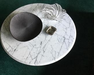"""36"""" round marble top...Lead glass bowl...silver plate decor...slate centerpiece bowl"""