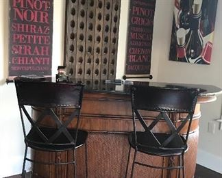 High End Wooden Half Round Bar with Marble Top & Wrought Iron Footrest & Feet. Pair Leather & Iron Barstool's
