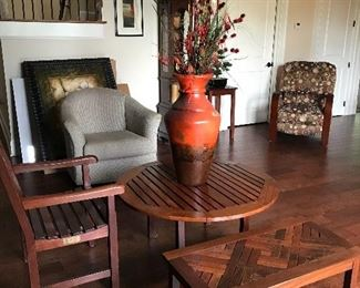 Solid Teakwood Coffee Table, rectangular table/bench and arm chair by Windsor Designs
