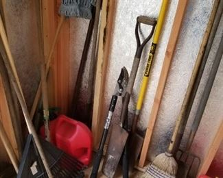 yard tools and planters