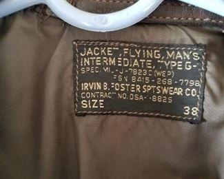 Irvin B Foster, Flight Jacket, Bomber