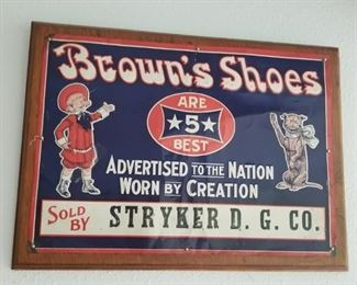 Antique advertising sign, Browns Shoes