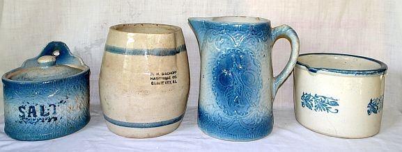 Blue & White Stoneware Incl. Granite City, IL Advertising