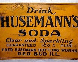"Tin Advertising Sign ""Drink Husemann's Soda"" Red Bud, IL."