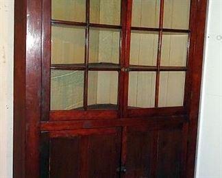 Walnut Corner Cupboard W/ 12 Pane Glass Doors