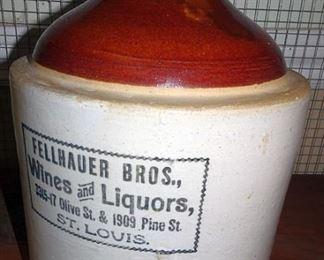 Stoneware Advertising Jug (Fellhauer Bros. Wines & Liquors, Olive & Pine Street, St. Louis, MO)