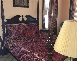 QUEEN SIZE 4 POSTER MAHOGANY BED, VIRGIN MARY PICTURE