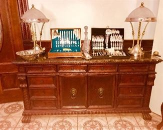 NICE BUFFET W/ MARBLE TOP, SEVERAL SETS S/P FLAT WARE, 2 TABLE LAMPS W/ GLASS SHADES