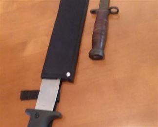 Machete and combat knife