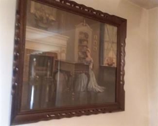 Classic woman at piano, nicely framed.