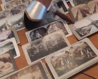 Stereoscope and dozens of slides