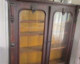 two door walnut bookcase