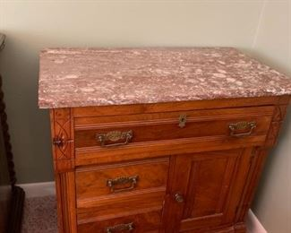 #7Marble-Top Antique Wash Stand w/3 drawers & 1 door   30x17x28  (Missing top) $100.00