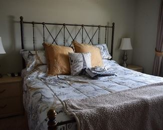 Bed, Head and Food Boards, Linens, Lamps, Side Tables