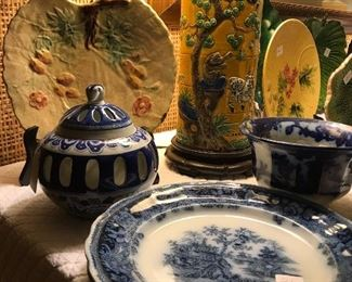 Beautiful pieces of antique majolica, and antique Hong Kong flow blue.