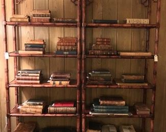Antique books, many with book plates; pair of Thomasville Allegro etageres