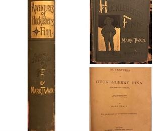 Adventures Of Huckleberry Finn, by Mark Twain. This antique book has  the attributes of a first edition.