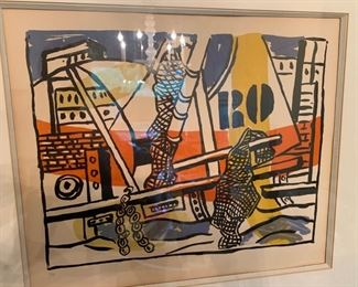 Fernand Leger, litho, signed in pen, numbered 6/75 in pencil