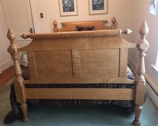 Tiger maple full size bed.  Head and foot boards.