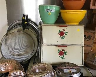 Vintage Tupperware, breadbox, defusers and decorative moulds.