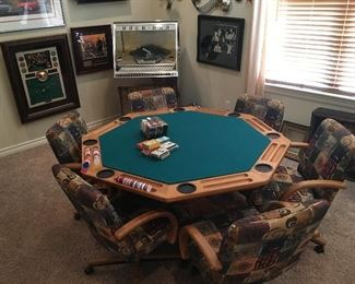 Oak Card Poker Table w/ Pedestal, 6 Rolling and Rocking Arm Chairs, Top of Table Swivels for Storage Underneath