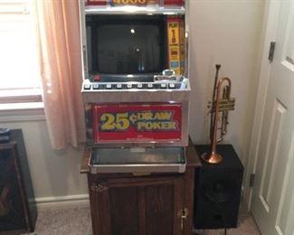 Players Edge Poker Machine, Oak Cabinet, C.G. Conn 12B Trumpet