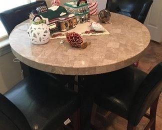 Steve Silver Marble Top Pub Table with 4 chairs