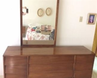 Matching Mid- Century Beautiful 3 Piece Bedroom Set Dresser with Mirror, Tall dresser, nightstand                                    Beautiful Condition