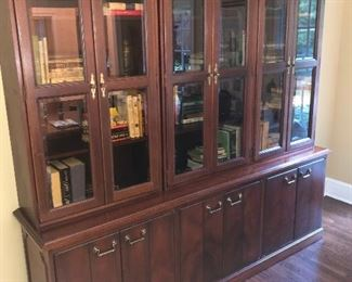 Solid wood Kimball beveled glass book shelves