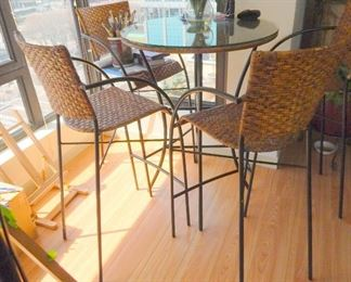 Bar height bistro set with 4 chairs