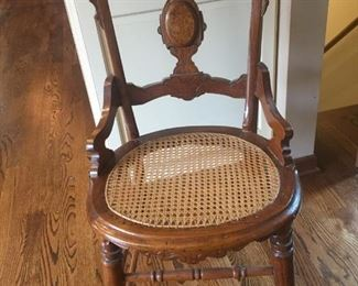 One of a set of 4 Victorian chairs. All caning perfect. Original finish.
