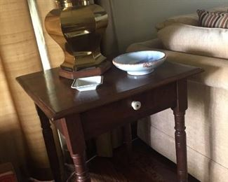 Antique Ohio walnut night stand, brass lamp. Japanese bowl with painting of Mt. Fuji