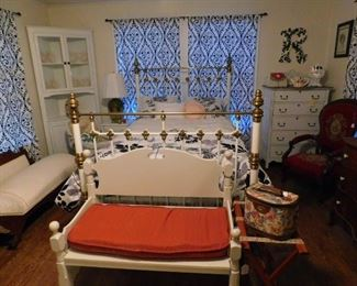 French Bedroom  with iron/brass bed, corner cabinet , fainting couch, and bench