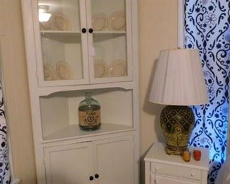 Corner Cabinet and white nightstand
