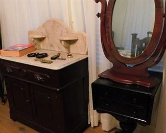 Great Marble top Antique Washstand,  Side Table , and Gentleman's Shaving Mirror