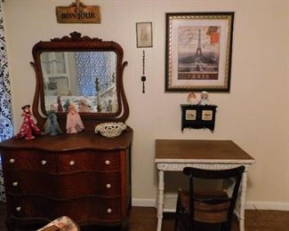 Oak dresser and mirror, Wicker Desk and more French Decor