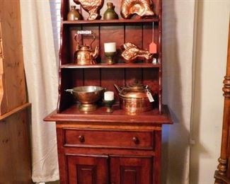 Antique Hutch for displaying on 3 shelves, and extra storage