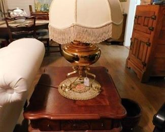 Closeup of Side tables and lamps